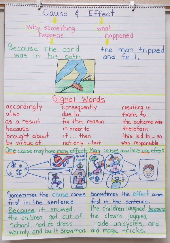 Cause and Effect Anchor Charts and Free Graphic Organizers - anchor charts