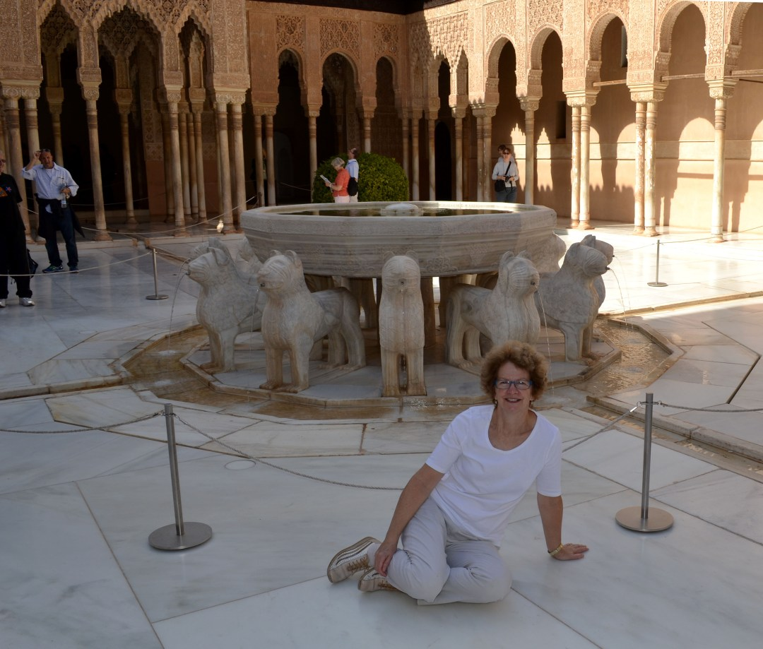 Lion Courtyard in the Alhambra in Granada Spain