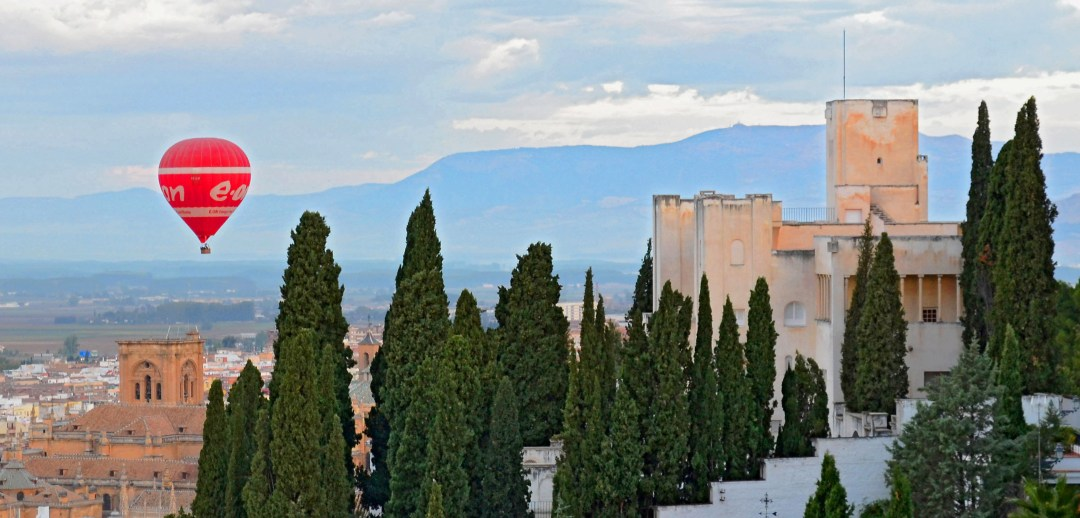 Hot air balloon ride over the Alhambra in Granada Spain