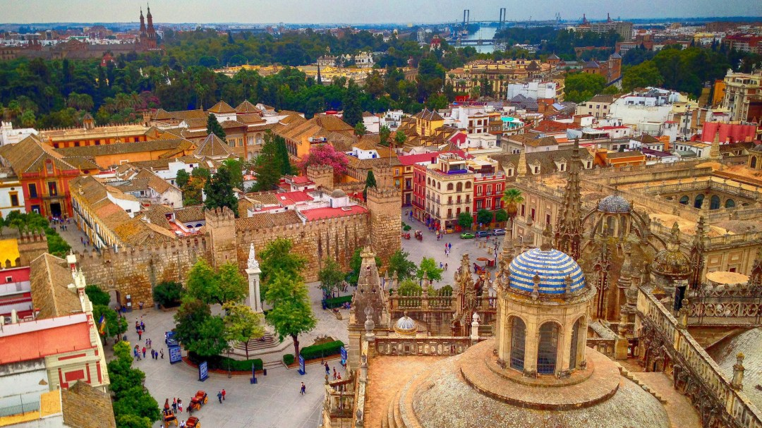 World Heritage view of the Alcazar from the World Heritage Giralda in the Seville Cathedral