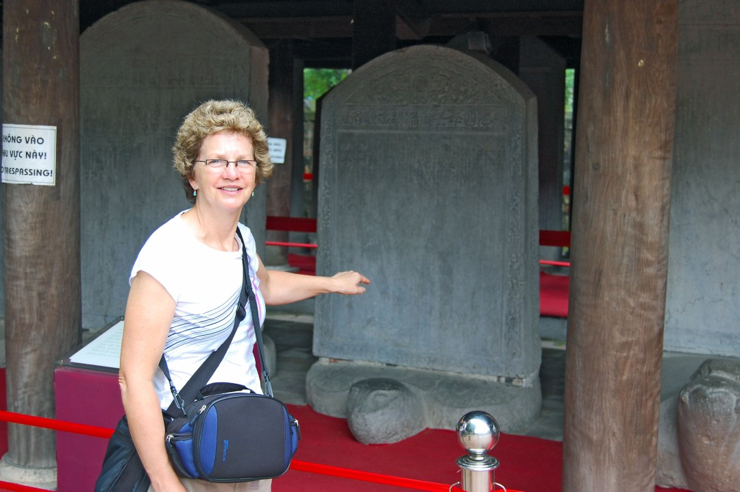 Turtle Stele in Temple of Literature in Hanoi Vietnam