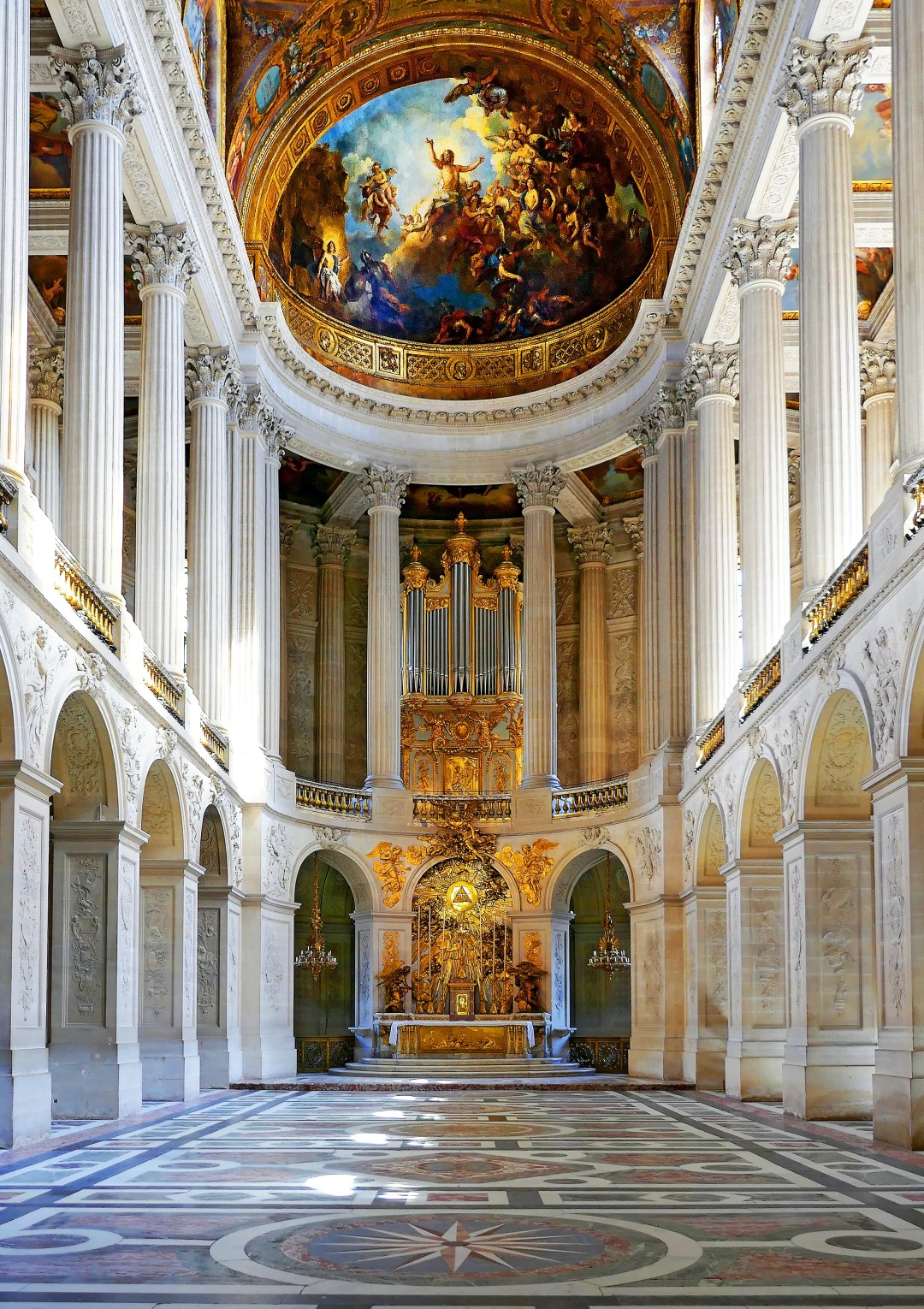 The magnificent chapel in the Palace of Versailles where Marie Antoinette married the King of France