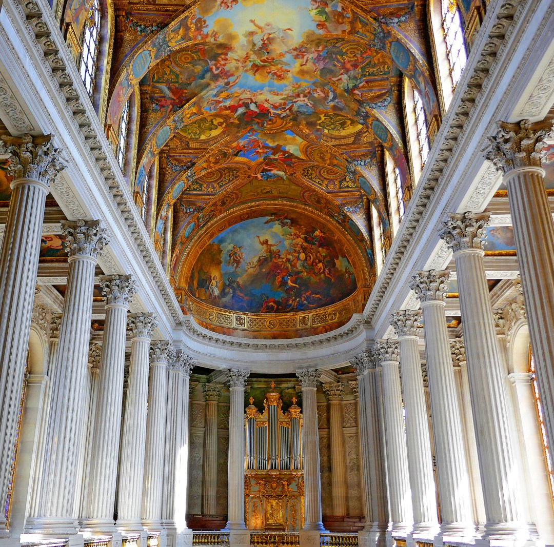 Upper floor of the chapel at the Palace of Versailles