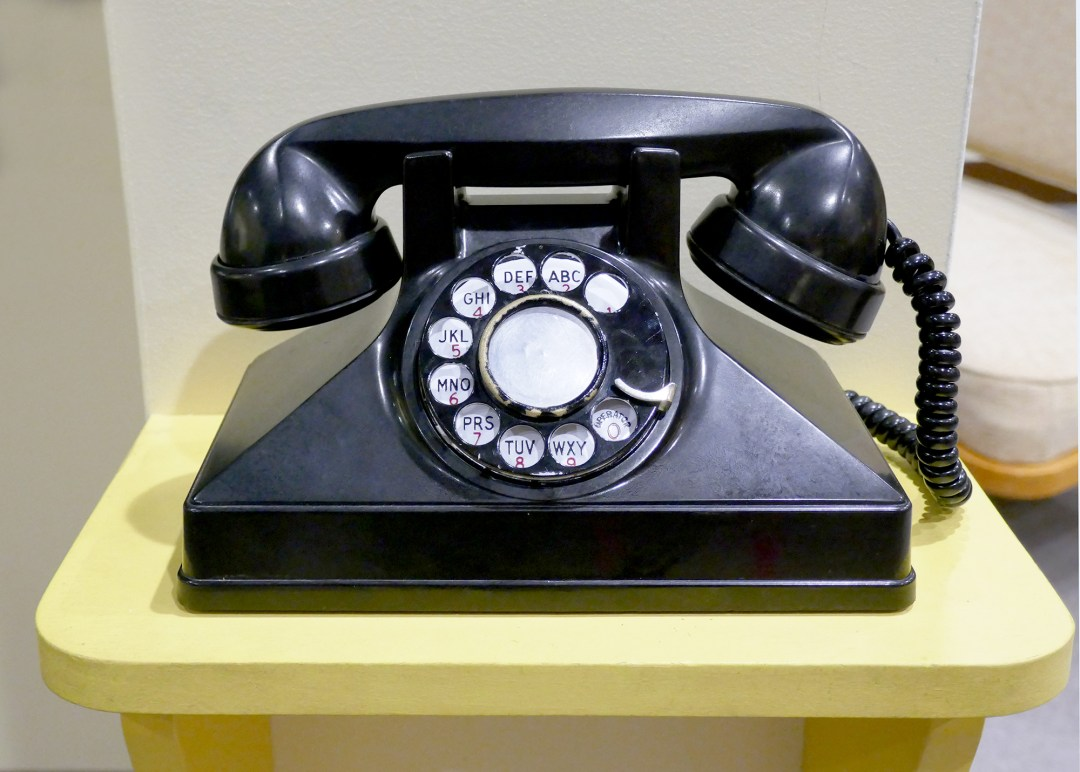 Black telephone at Alexander Graham Bell Museum