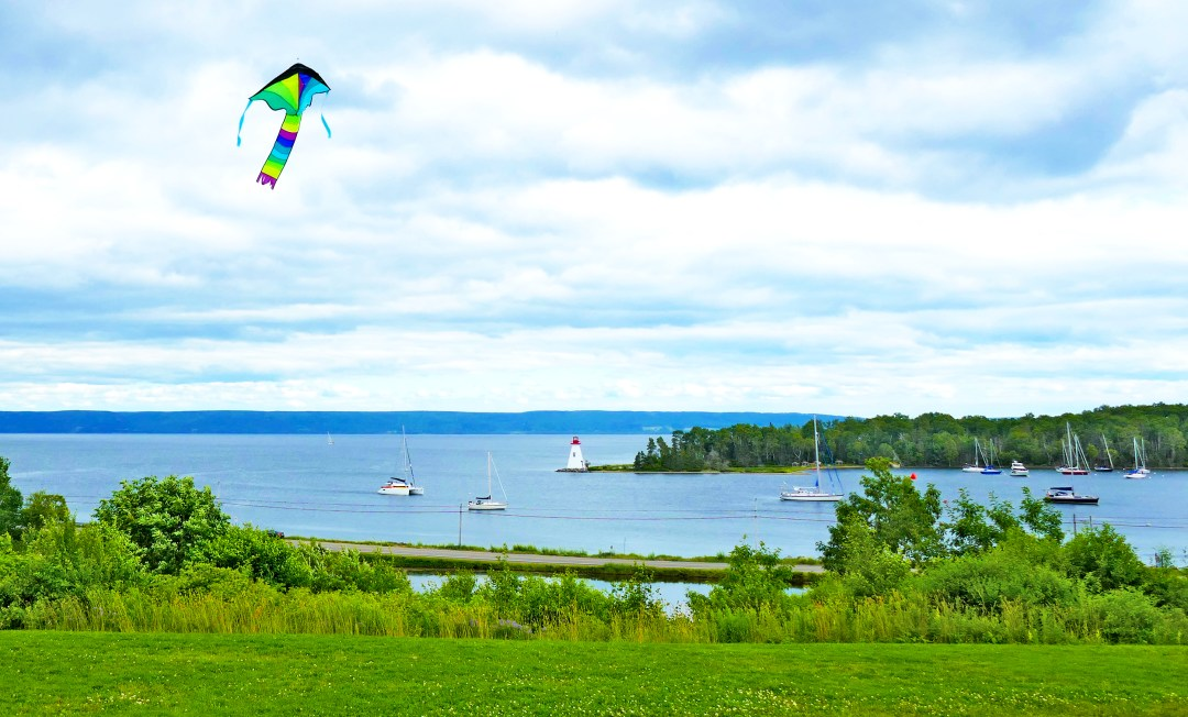 Kite flying over Bras d'Or lakes at Alexander Graham Bell Museum