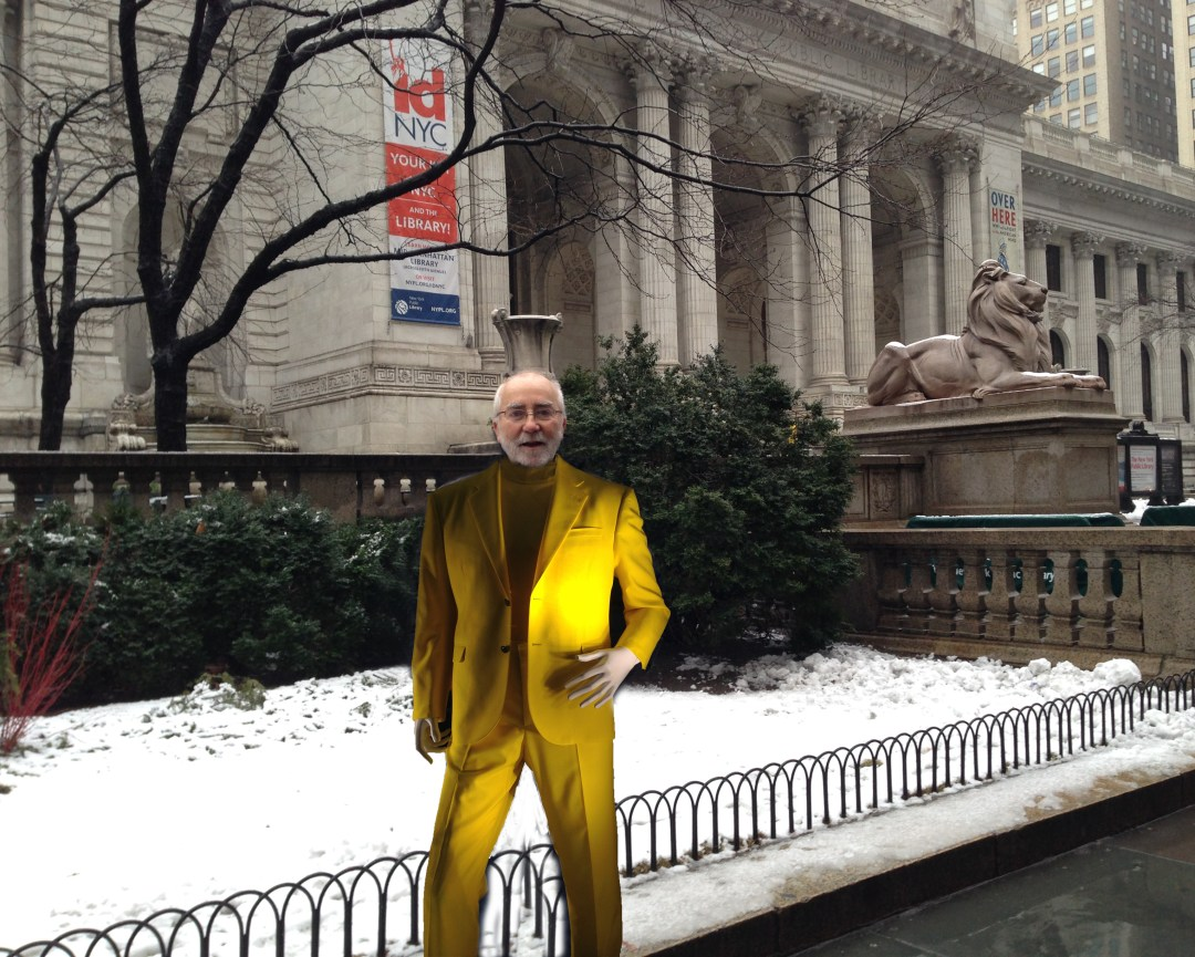 Burke in Versace in front of New York Public Library
