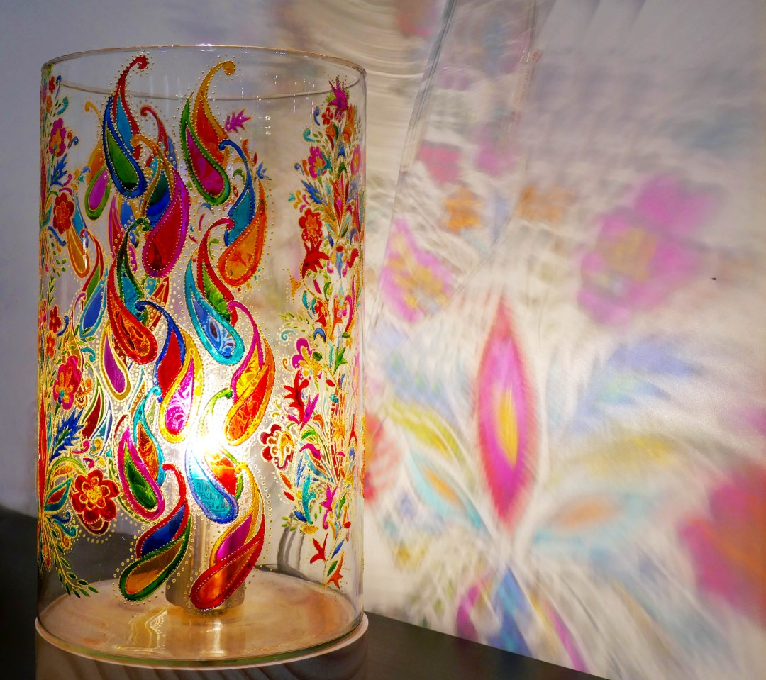 Hand painted glass on hand-blown glass from Old Damascus