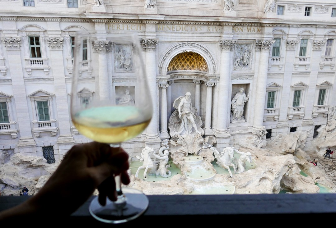 Trevi Fountain in Rome from Hotel Fontana