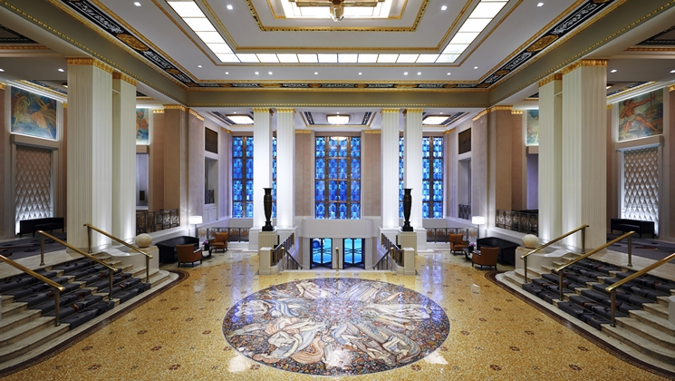Lobby of the Waldorf Astoria in NYC