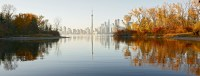 View of CN Tower from Toronto Island in the autumn