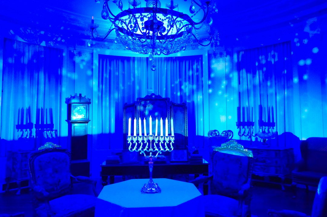 Casa Loma decorated for Hanukkah