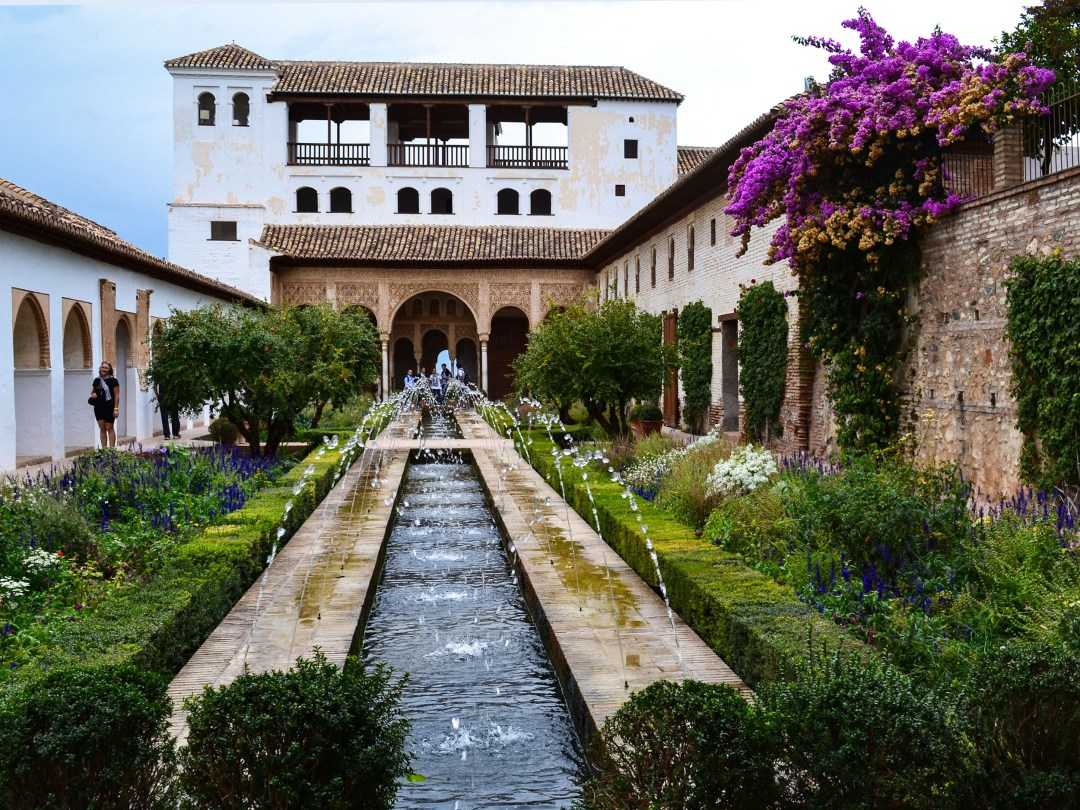 Generalife water fountain at The Alhambra in Spain for the Getty for boomervoice