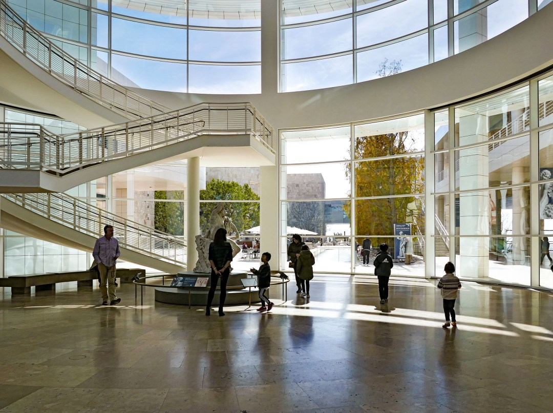 Getty Museum atrium view to outside for boomervoice