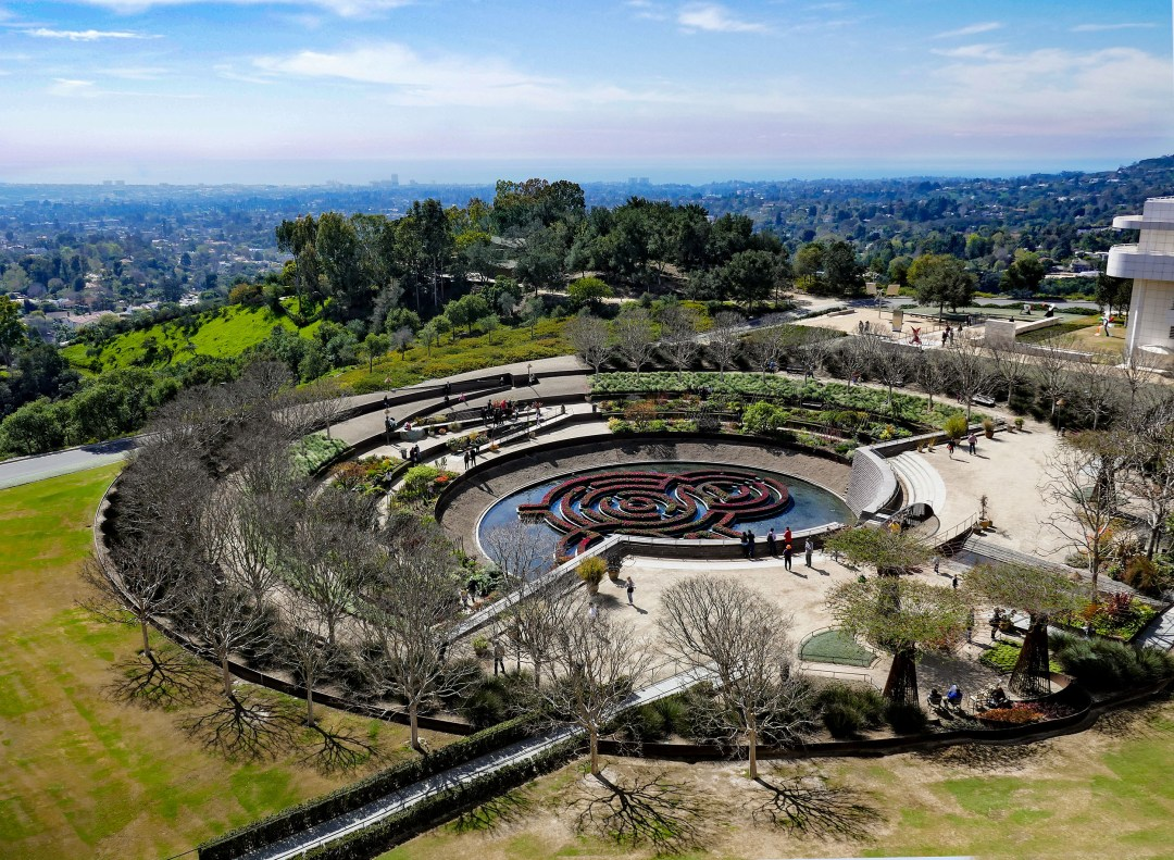 Getty Museum garden aerial view for boomervoice