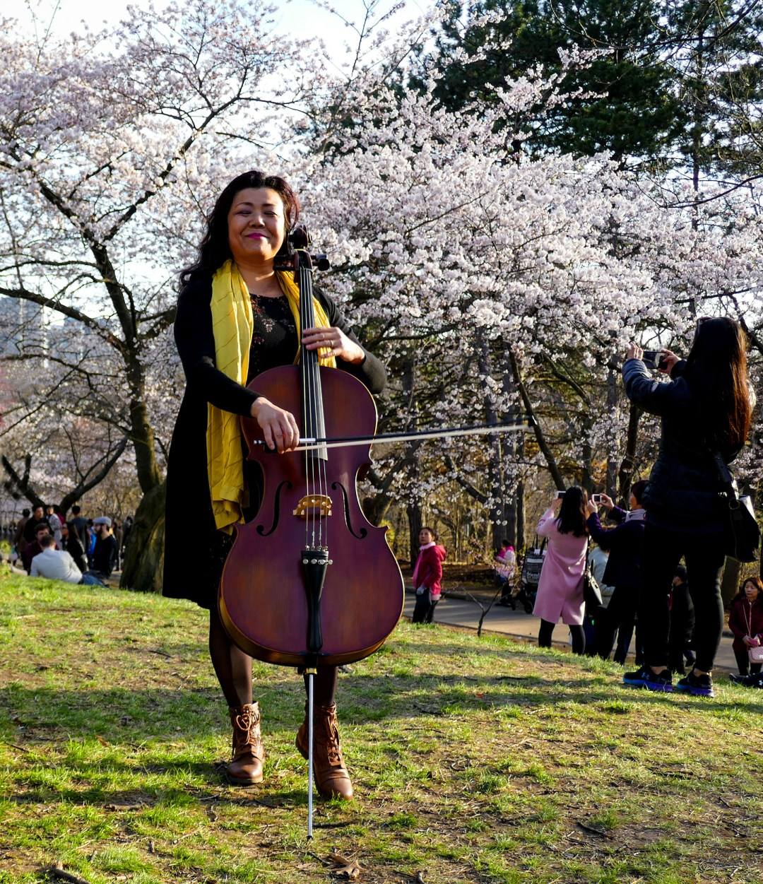 Cello player in High Park for boomervoice