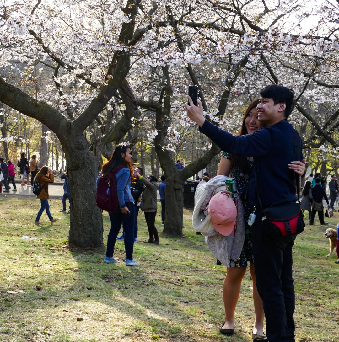 Couple taking selfie in High Park for boomervoice