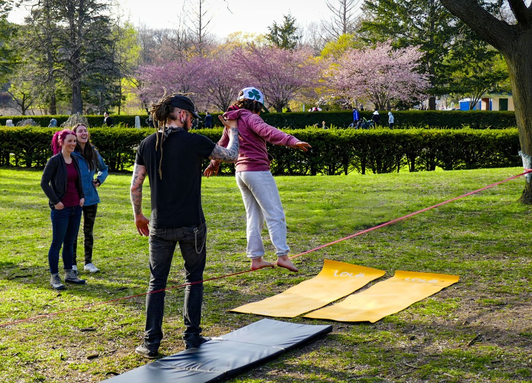 Learning to tightrope walk in High Park for boomervoice