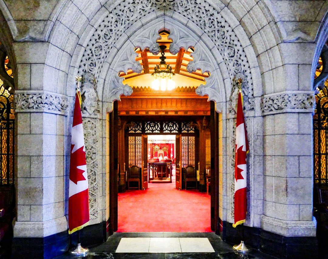 Entrance to the Senate on Parliament Hill for boomervoice