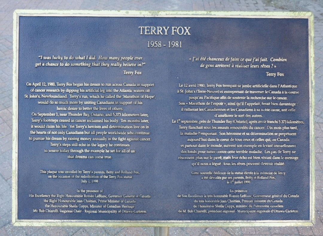 Terry Fox plaque on Parliament Hill for boomervoice