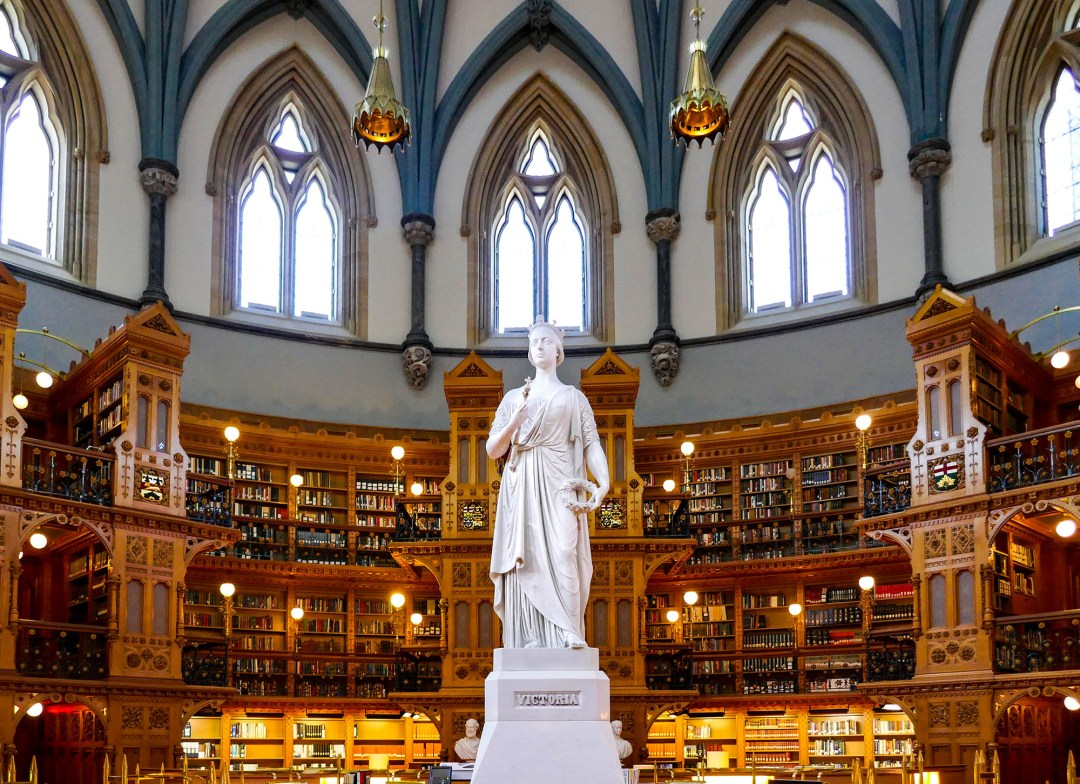 Queen Victoria inside Parliamentary Library for boomervoice