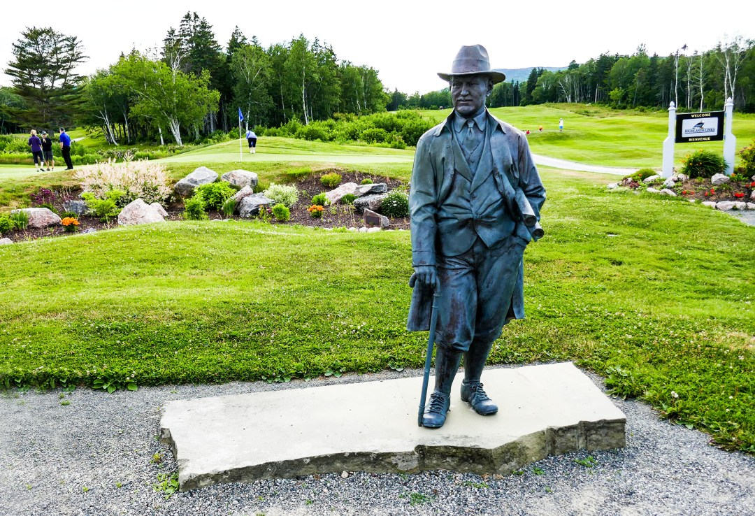 Statue of Stanley Thompson at Highland Links Golf Course for boomervoice