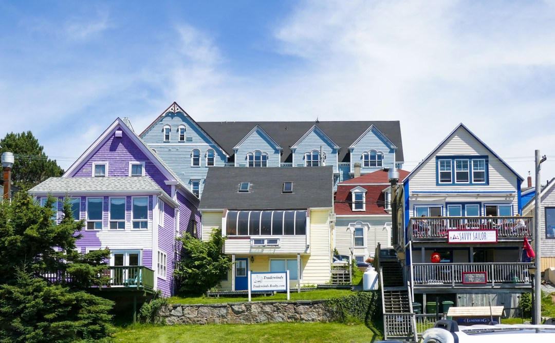 Purple and white house in Lunenburg for boomervoice
