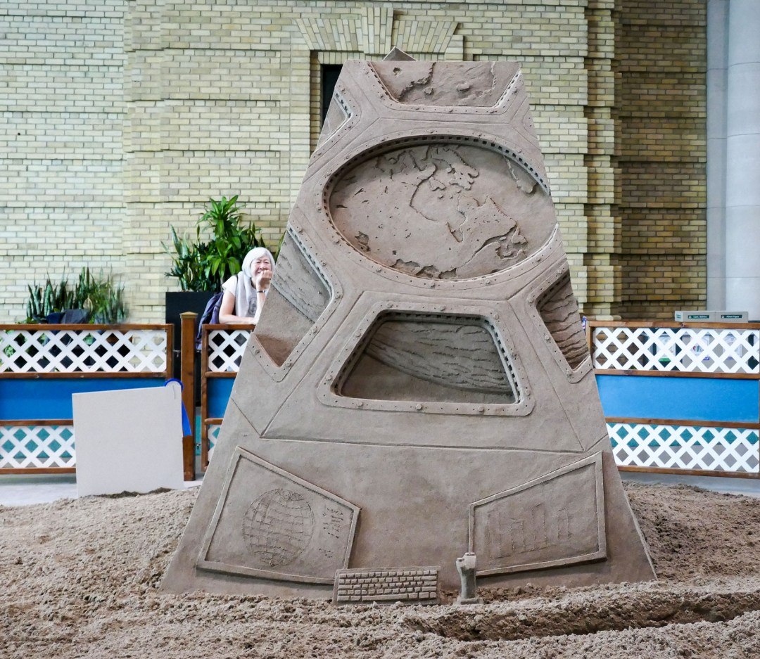 Canada from space sand sculpture at CNE for bomervoice