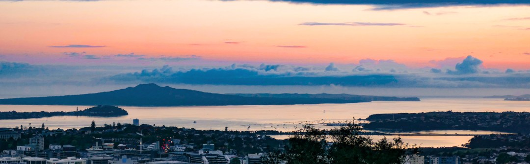 Early sunrise from Mount Eden in Auckland New Zealand for boomervoice