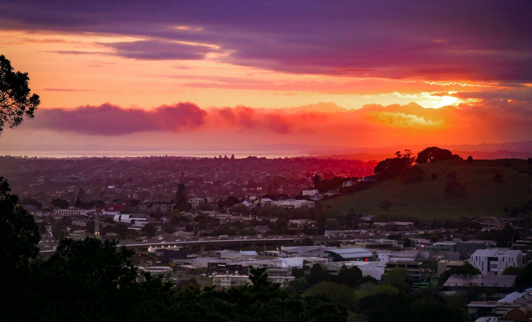 Sunrise from Mount Eden in Auckland New Zealand for boomervoice