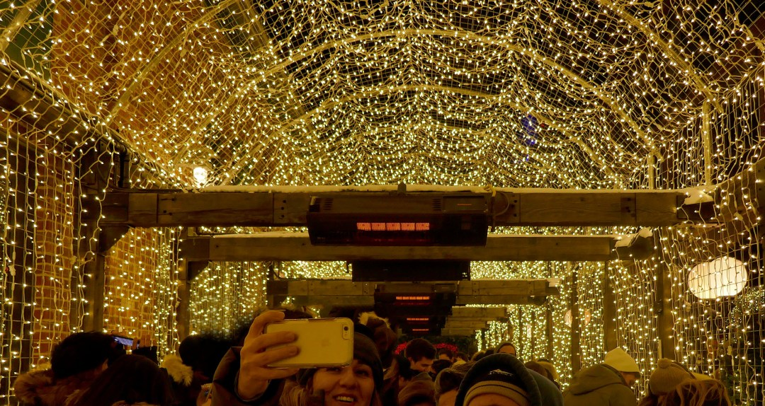 Tunnel of light at the Toronto Christmas Market for boomervoice