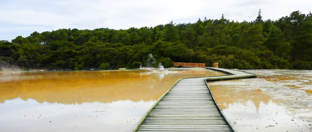 Boardwalk at Waiotapu Geothermal Park near Rotorua New Zealand for boomervoice