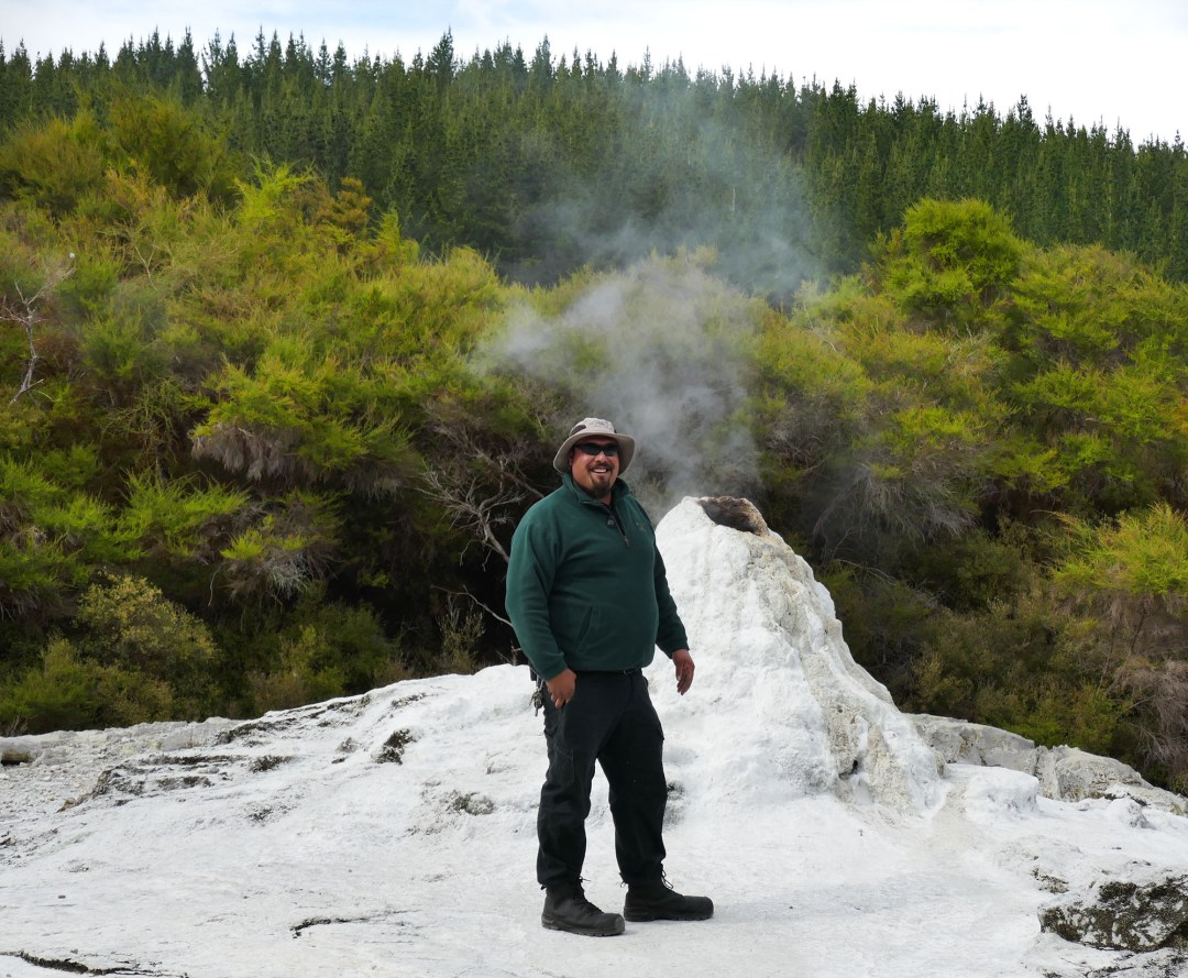 Lady Knox Geyser guide at Waiotapu Geothermal Park near Rotorua New Zealand for boomervoice