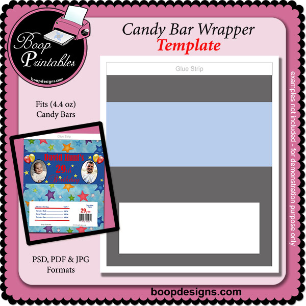 Candy Bar Wrapper (44 oz) - TEMPLATE by Boop Printable Designs