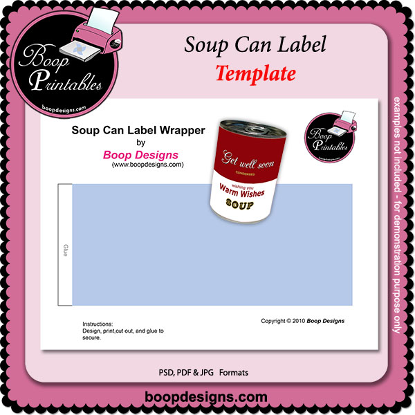 Soup Can label TEMPLATE by Boop Printable Designs Soup Can label - abel templates psd