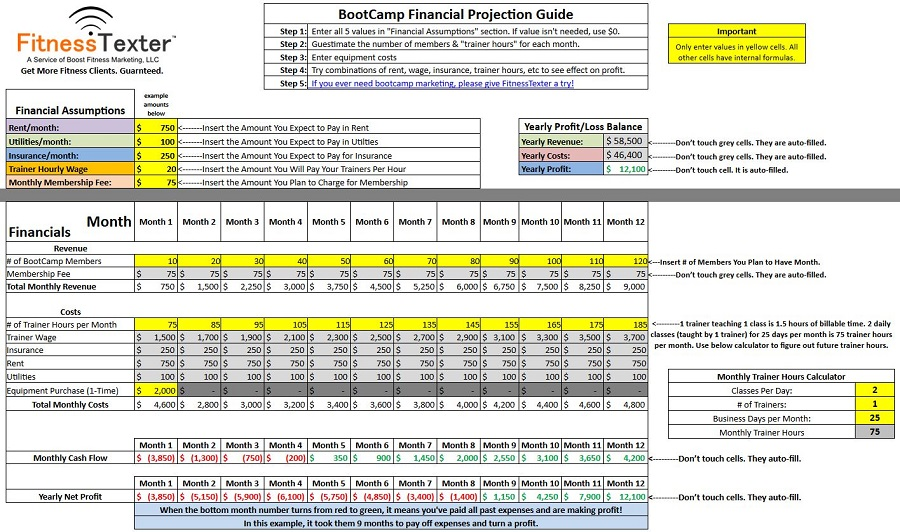 Free Financial Excel Spreadsheet for Bootcamps FitnessTexter™