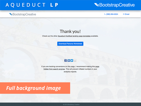 Free Aqueduct HubSpot Thank You Page Template - Easily Add