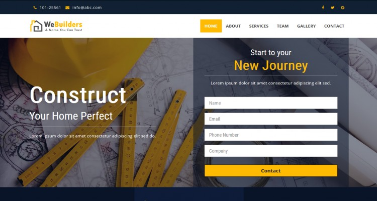 Construction - HTML5 Bootstrap Responsive Landing Page