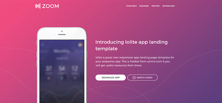 Zoom UI Kit \u2013 Mobile App Html Landing Page Template Bootstrap Themes
