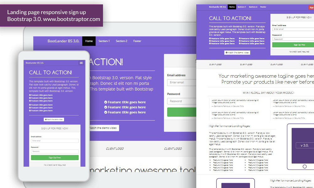 Landing page responsive signup form Bootstrap 3 templateBootstraptor