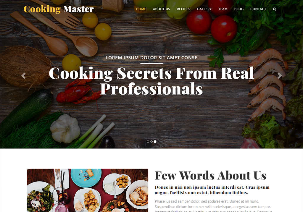 Cooking class website template free download for your cooking school
