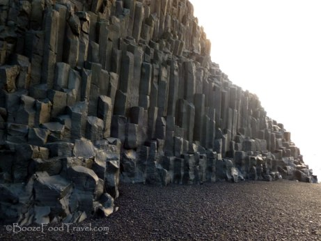 Basalt sea stacks on the beach