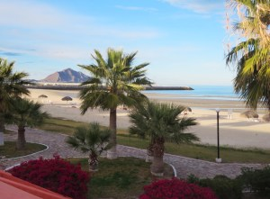 A view of the beach from the patio of my room at San Felipe Marina Resort & Spa.