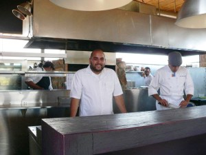 Chef Diego Hernandez in his open kitchen at Corazon De Tierra