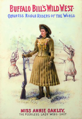 The actor depicting Annie Oakley in a replicated poster from Buffalo Bill's wild West Show