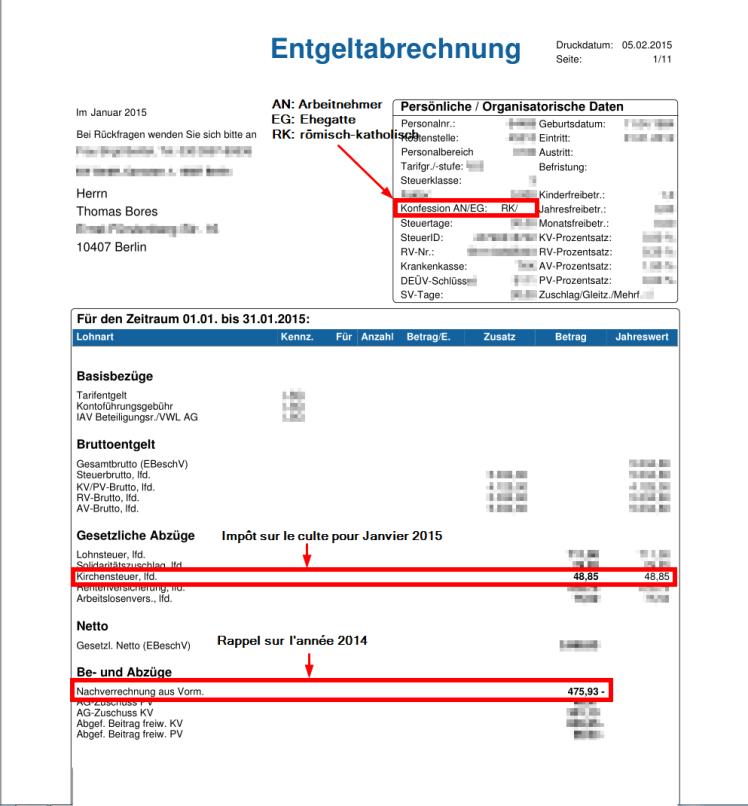 Feuille de salaire de janvier 2015