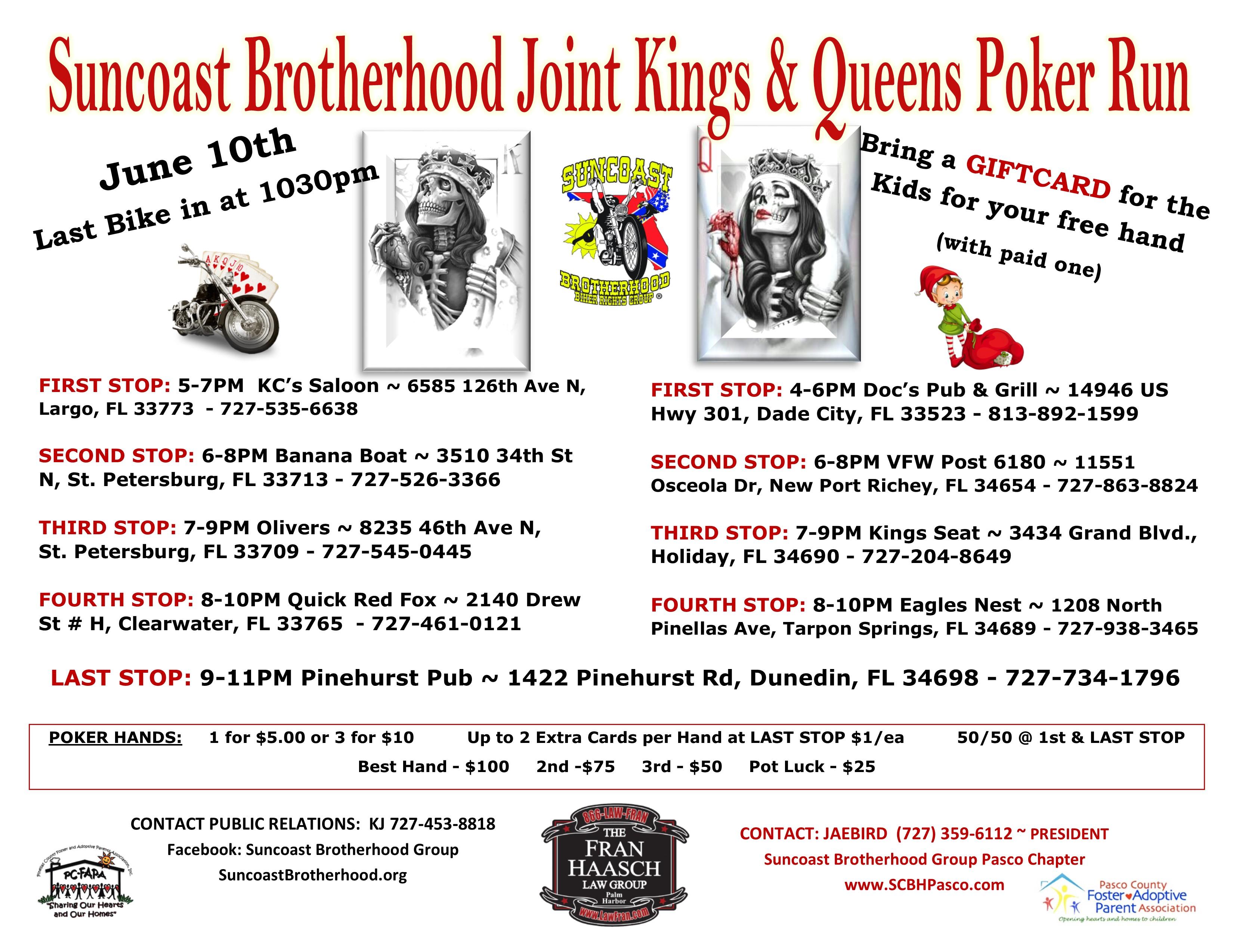 Suncoast Brotherhood Joint Kings & Queens Poker Run