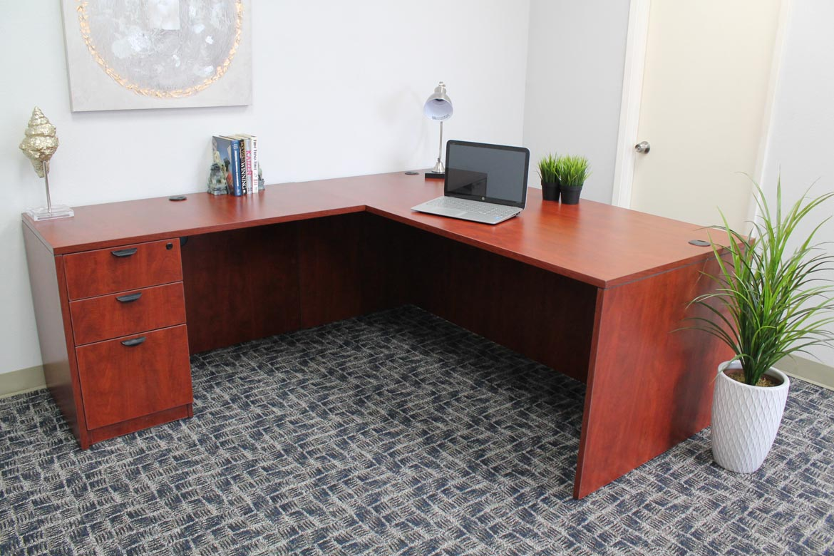 Executive L Shaped Desk Boss Holland Series 71 Inch Executive L Shape Corner Desk With File Storage Pedestal Cherry