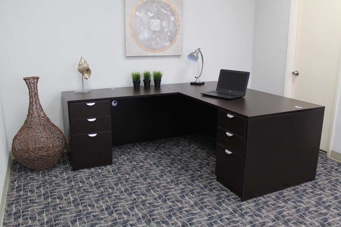 Executive L Shaped Desk Boss Holland Series 71 Inch Executive L Shape Corner Desk With Dual File Storage Pedestals Mocha