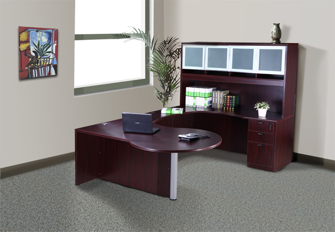 Executive L Shaped Desk Boss Holland Series 71 Inch Executive L Shape Curved Bow Desk With File Storage Pedestal And Hutch Mahogany