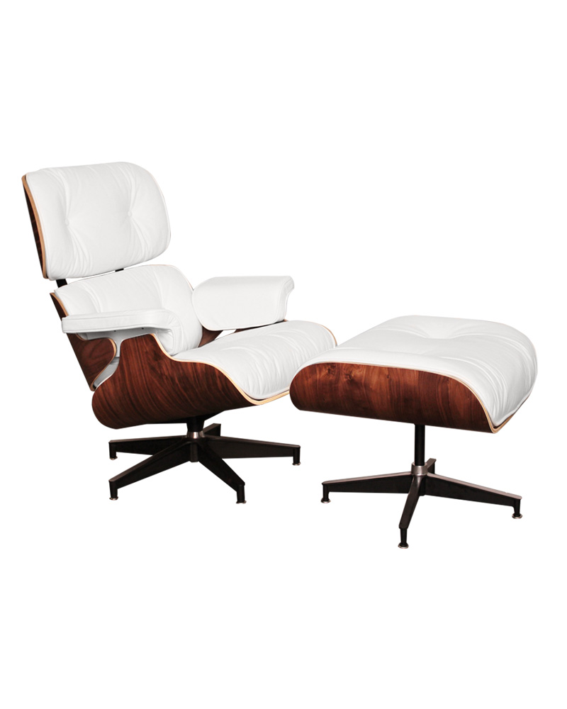 Chair Eames Charles Ray Eames Style Walnut Lounge Chair & Ottoman - White - Boss Livingboss Living